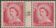 NZ Counter Coil Pair SG 730 1953 8d Queen Elizabeth II Join No. 18 (NCC/206)